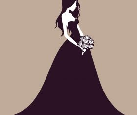 Beautiful bride wedding design vector 02