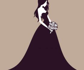 Beautiful bride wedding design vector 02