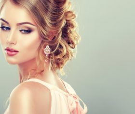 Beautiful model with elegant hairstyle Stock Photo 05