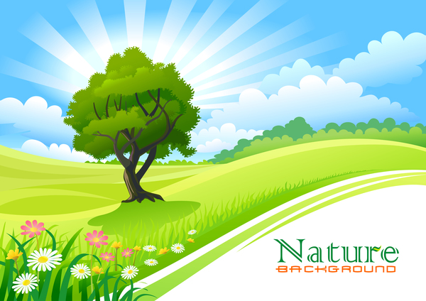 Beautiful natural landscape vectors 01