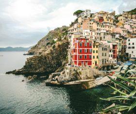 Beautiful sea view houses on mountain slope Stock Photo