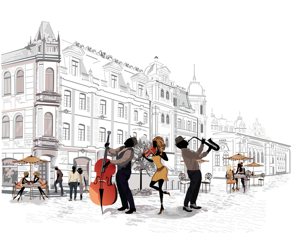 Beauty streets white old people musician vector