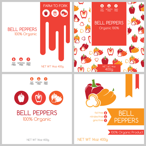 Bell peppers package box template vector