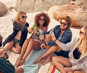 Best friends at beach party Stock Photo 01