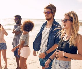 Best friends at beach party Stock Photo 02
