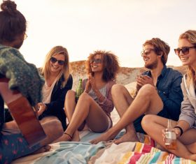 Best friends at beach party Stock Photo 04