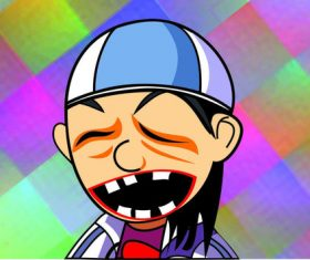 Big mouth cartoon characters vector