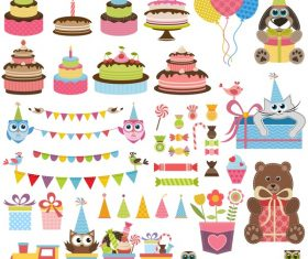 Birthday elements design vector set 01