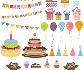 Birthday elements design vector set 02