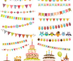 Birthday elements design vector set 03