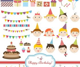 Birthday elements design vector set 04