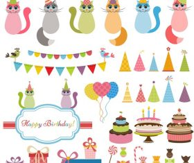 Birthday elements design vector set 05