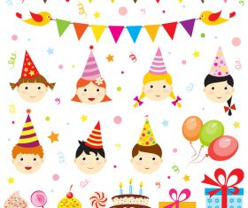 Birthday elements design vector set 06