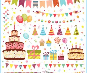 Birthday elements design vector set 07