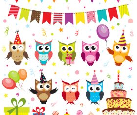 Birthday elements design vector set 08