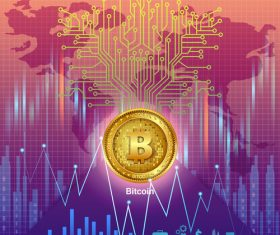 Bitcoin business infographic vector template 04