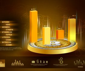 Bitcoin business infographic vector template 06