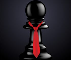 Black chess with red ribbon vector 01