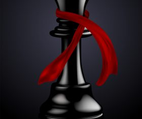 Black chess with red ribbon vector 02