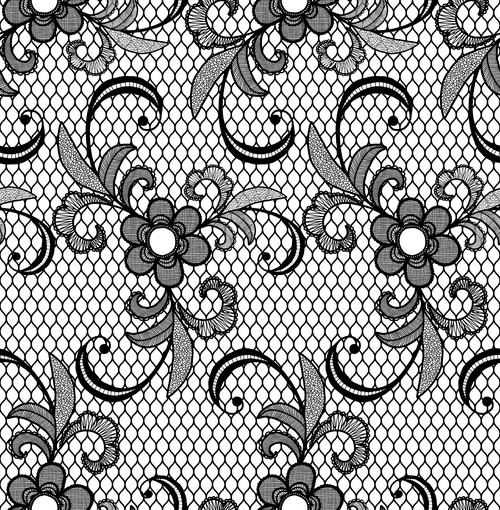 Black lace pattern vector design 01