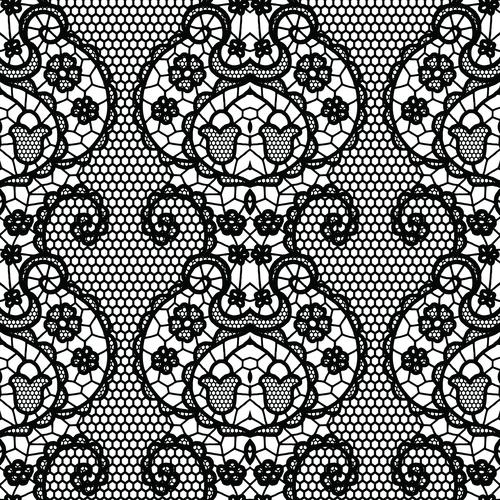 Black lace pattern vector design 02