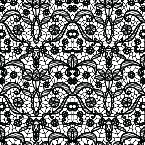 Black lace pattern vector design 03