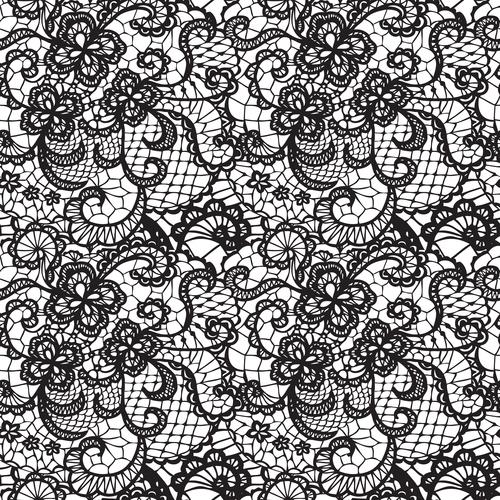 Black lace pattern vector design 04