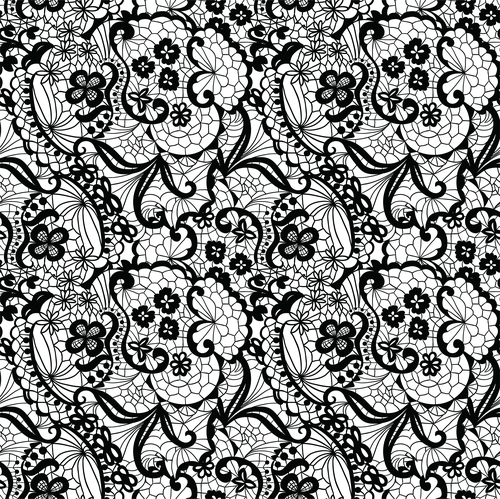 Black lace pattern vector design 05