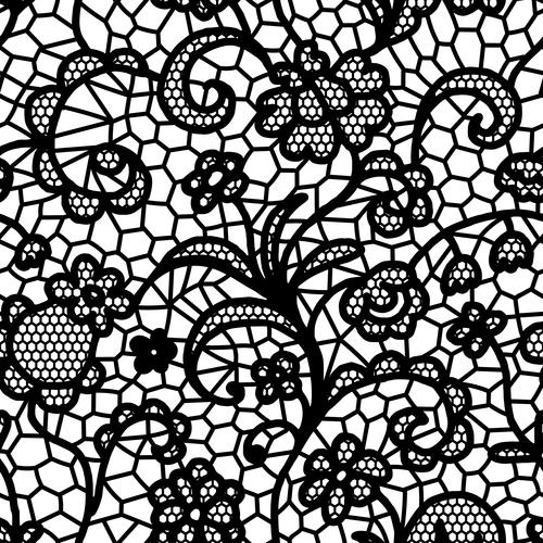 Black lace pattern vector design 06