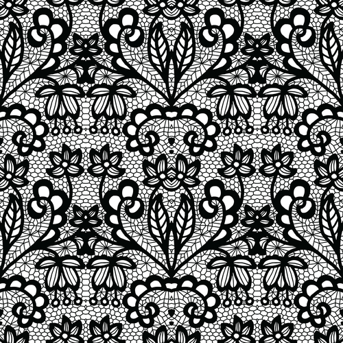 Black lace pattern vector design 07