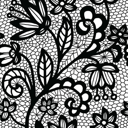 Black lace pattern vector design 08