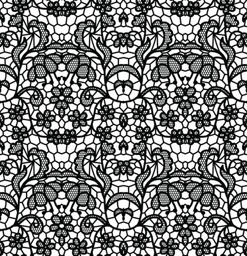 Black lace pattern vector design 09