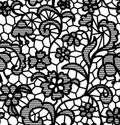 Black lace pattern vector design 10