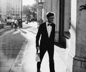 Black white picture of elegant man on street Stock Photo