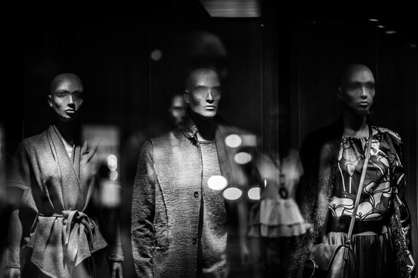 Black white picture of mannequins in store Stock Photo