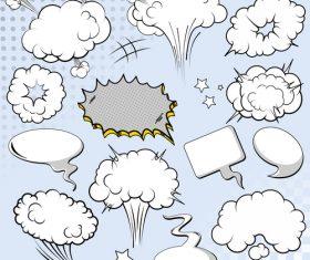 Blank cartoon speech bubbles vector 01