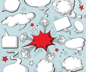 Blank cartoon speech bubbles vector 02