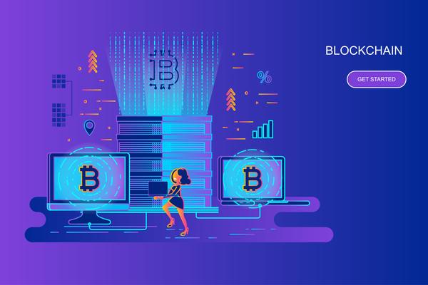 Blockchain flat design concept vector
