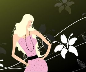 Blonde woman and flower background vector
