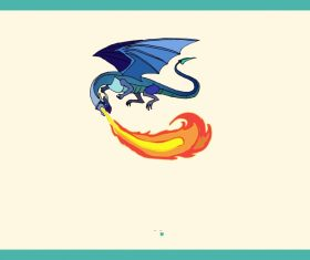 Blue Fire Dragon vector