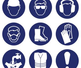 Blue safety icons set