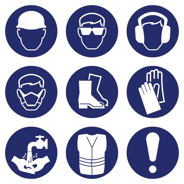Blue safety icons set