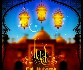 Blurs Eid mubarak background with arabic lamp vector