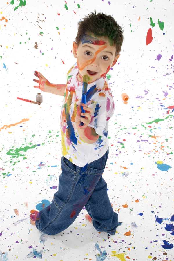 Boy from tip to toe paint with an oil Stock Photo 01