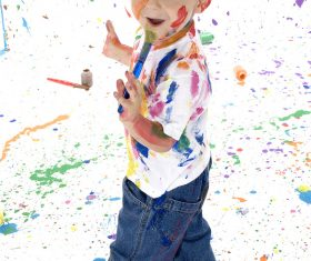 Boy from tip to toe paint with an oil Stock Photo 02