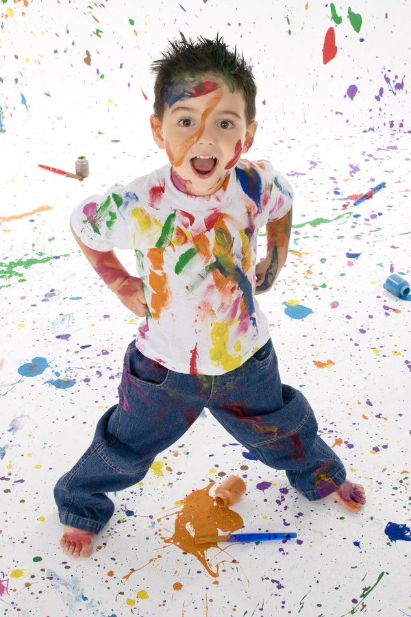 Boy from tip to toe paint with an oil Stock Photo 03