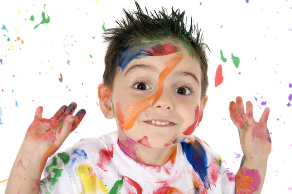 Boy from tip to toe paint with an oil Stock Photo 04