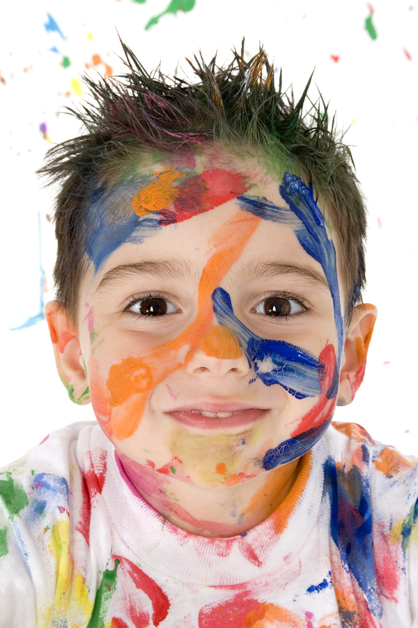 Boy from tip to toe paint with an oil Stock Photo 06
