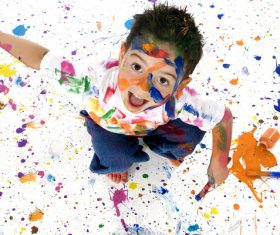 Boy from tip to toe paint with an oil Stock Photo 07