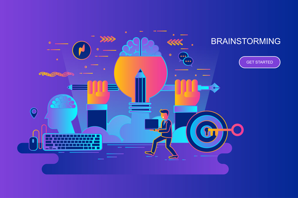 Brainstorming design concept vector
